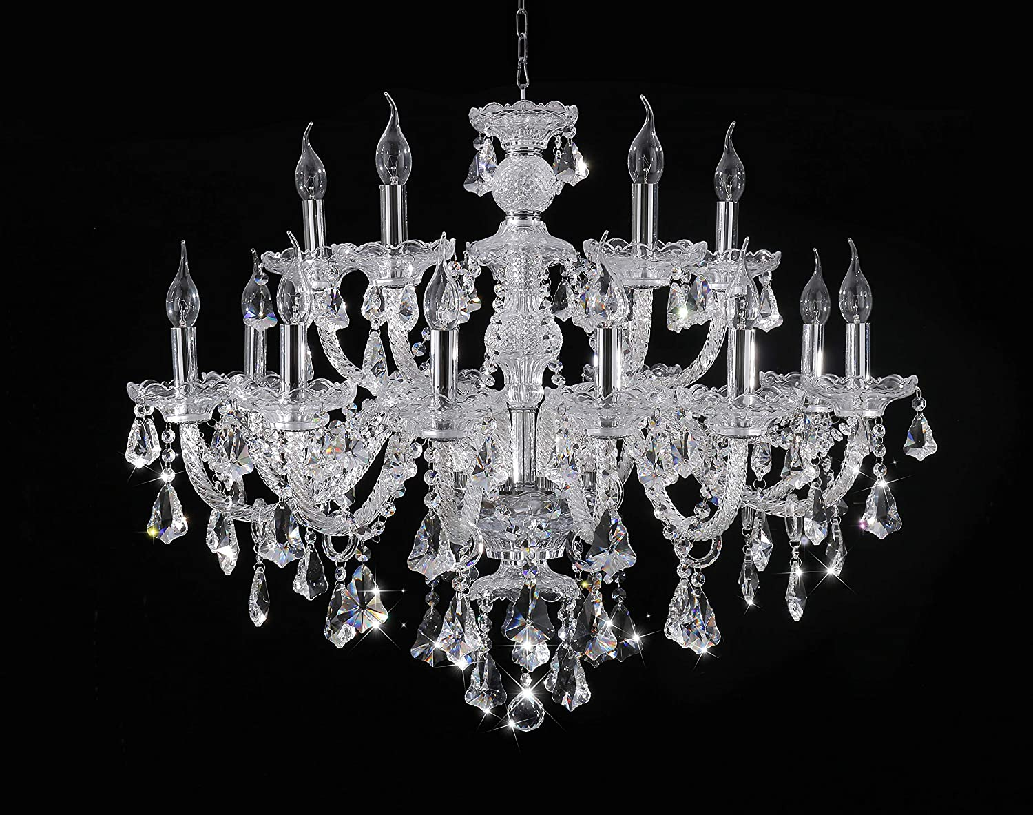 Clear 15 Lights K9 Crystal Chandelier Modern Luxurious Light Candle Pendant Lamp Ceiling Living Room Lighting for Dining Living Room Bedroom Hallway Entry 32×35 Inch Gifts Color Clear