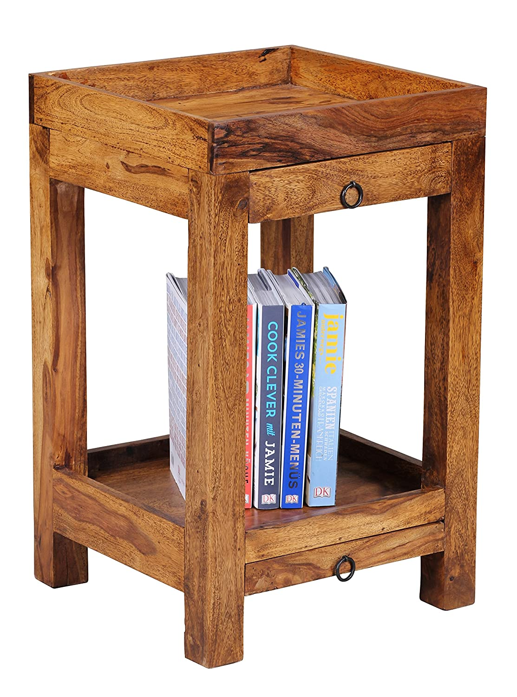 WOHNLING Beistelltisch Massiv-Holz Sheesham 65 cm Wohnzimmer-Tisch mit 2 Schubladen Design Landhaus-Stil Telefontisch Natur-Produkt Wohnzimmermöbel Unikat modern Massivholzmöbel Echtholz Anstelltisch