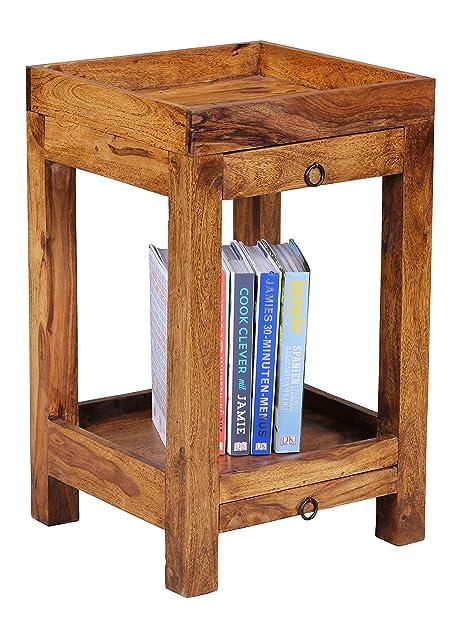 Beistelltisch mit schublade modern  WOHNLING Beistelltisch Massiv-Holz Sheesham 65 cm Wohnzimmer-Tisch ...