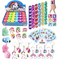 Klmars AB-112 Unicorn Theme Party Favor for Kids-96Pcs Tatoo-24Pcs Stamper-27 Pcs Rings Necklace Keychain-Birthday Party…