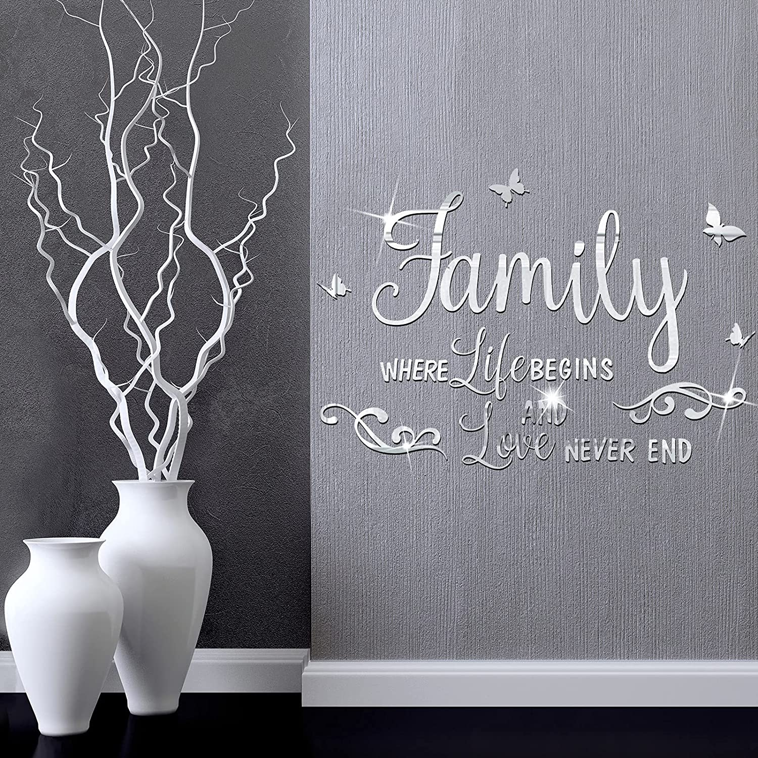 3D Acrylic Mirror Wall Decor Stickers Removable Family Letter Quotes Wall Stickers DIY Art Motivational Family Mirror Stickers for Home Office Dorm Wall Decor
