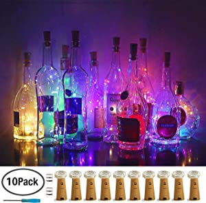10 Pack Bottle Cork Lights 10 LED Wine Bottle Battery Powered Lights Copper Wire Fairy String Light for Christmas Halloween Wedding Birthday Party DIY Home Decor (10 Colors)
