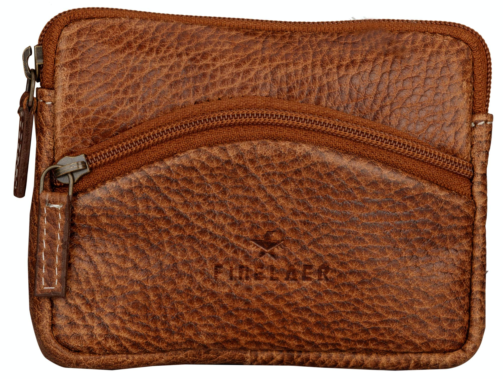 Finelaer Men Brown Leather Mini Coin Purse Pouch Wallet