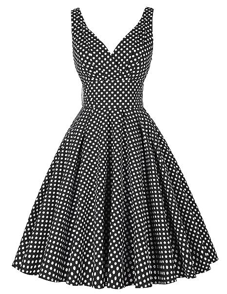 bad5702ae0f PAUL JONES Juniors V-Neckline Polka Dot Sleeveless Flare Summer Dress Black (XS)