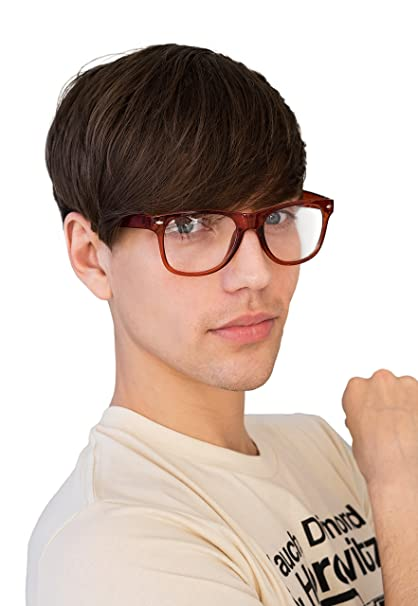 594cf37ae7aa Image Unavailable. Image not available for. Color  Clear Lens Geek Nerd  Cosplay Chunky Frame Glasses Otaku Larp Men s Women s Geeky