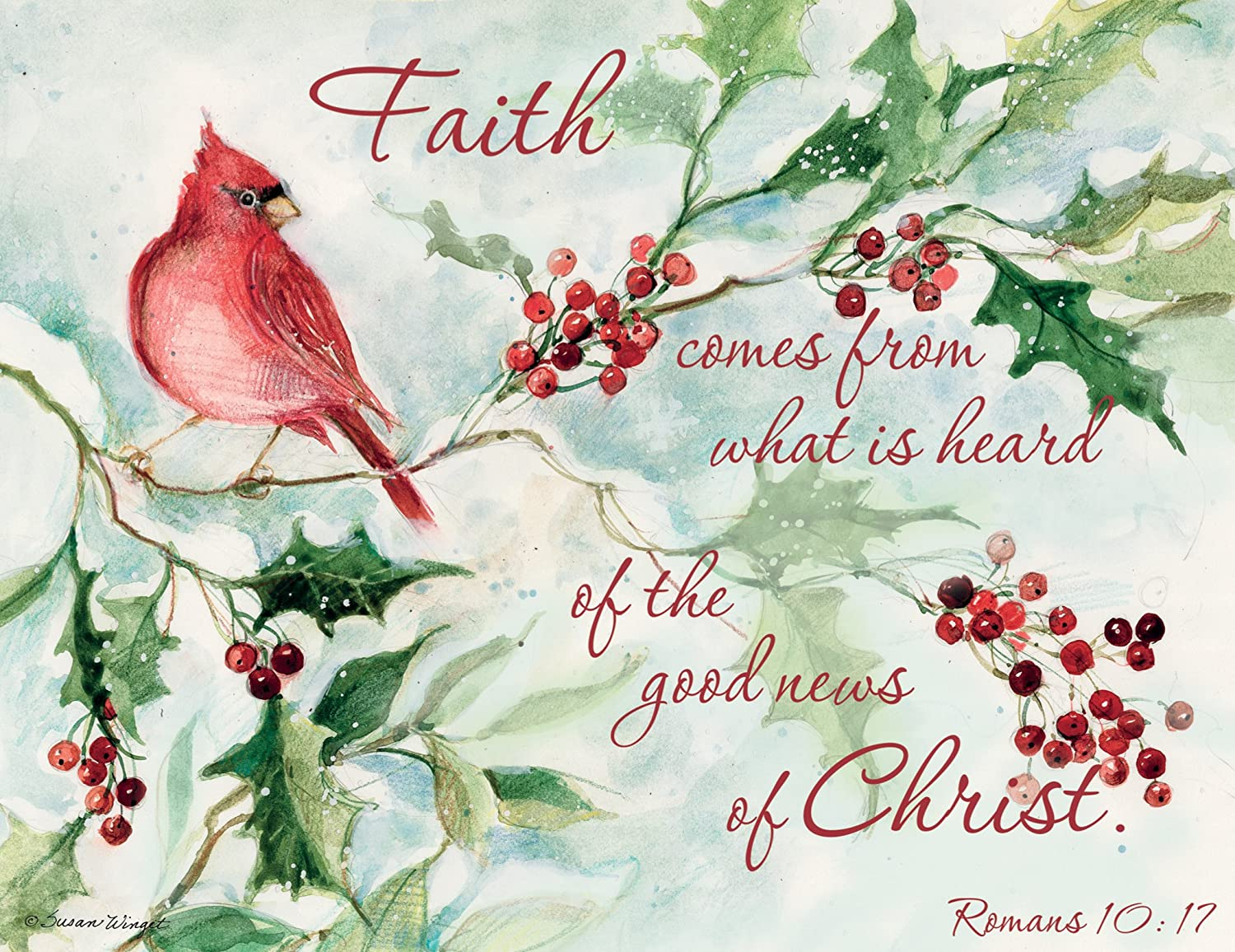 Lang Boxed Christmas Cards 2021 Lang Cardinal And Berries Boxed Christmas Cards Artwork By Susan Winget 18 Cards 19 Envelopes 5 375 X 6 875 Amazon In Office Products