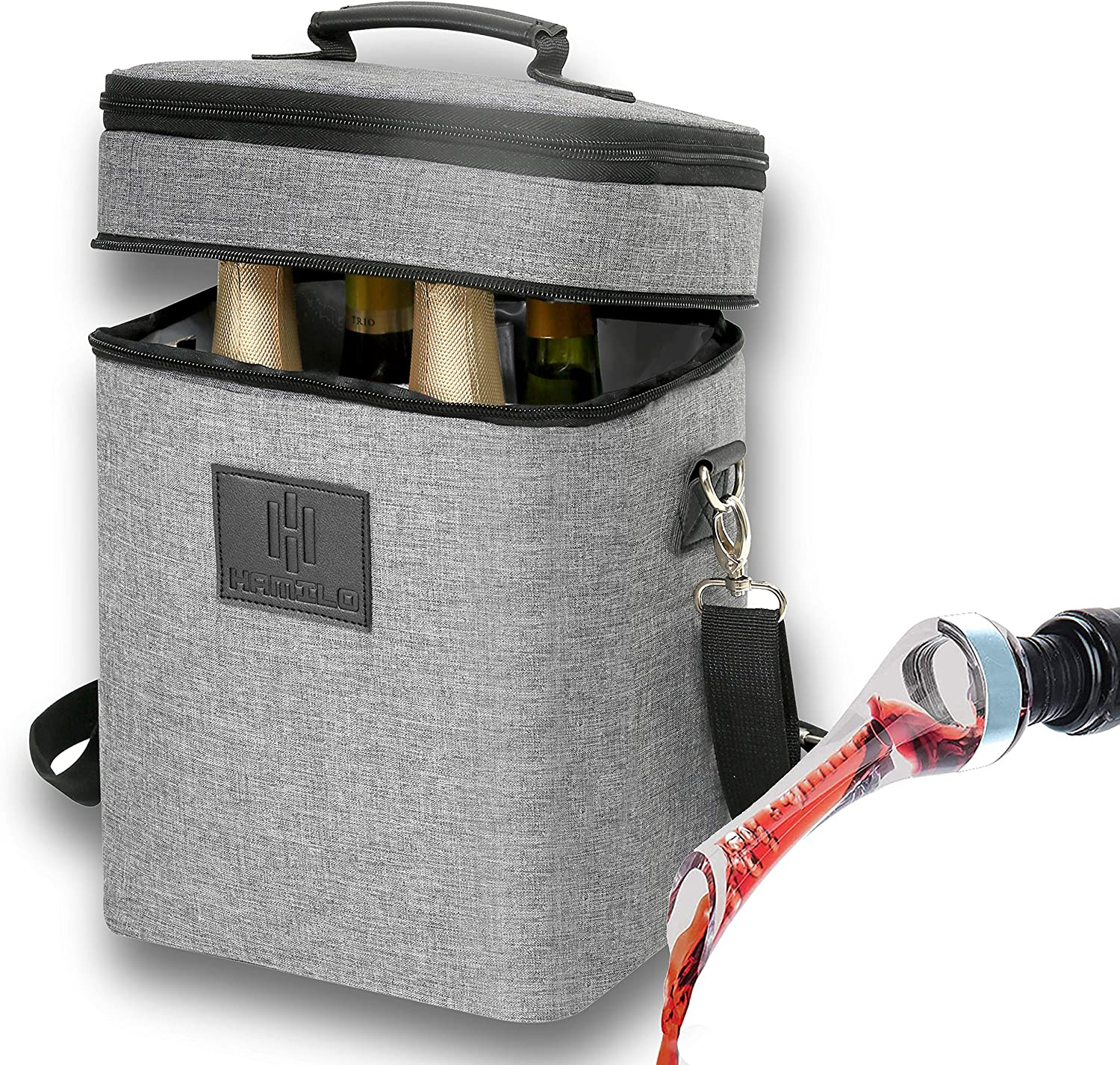 HAMILO 4 Bottle Wine Tote and Wine Aerator Set (Gray) - Insulated Champagne Cooler Purse with Wine Pourer, Wine bag with Wine Decanter Spout, Wine Accessory Gift Set for Wine Lovers, Wine Picnic set