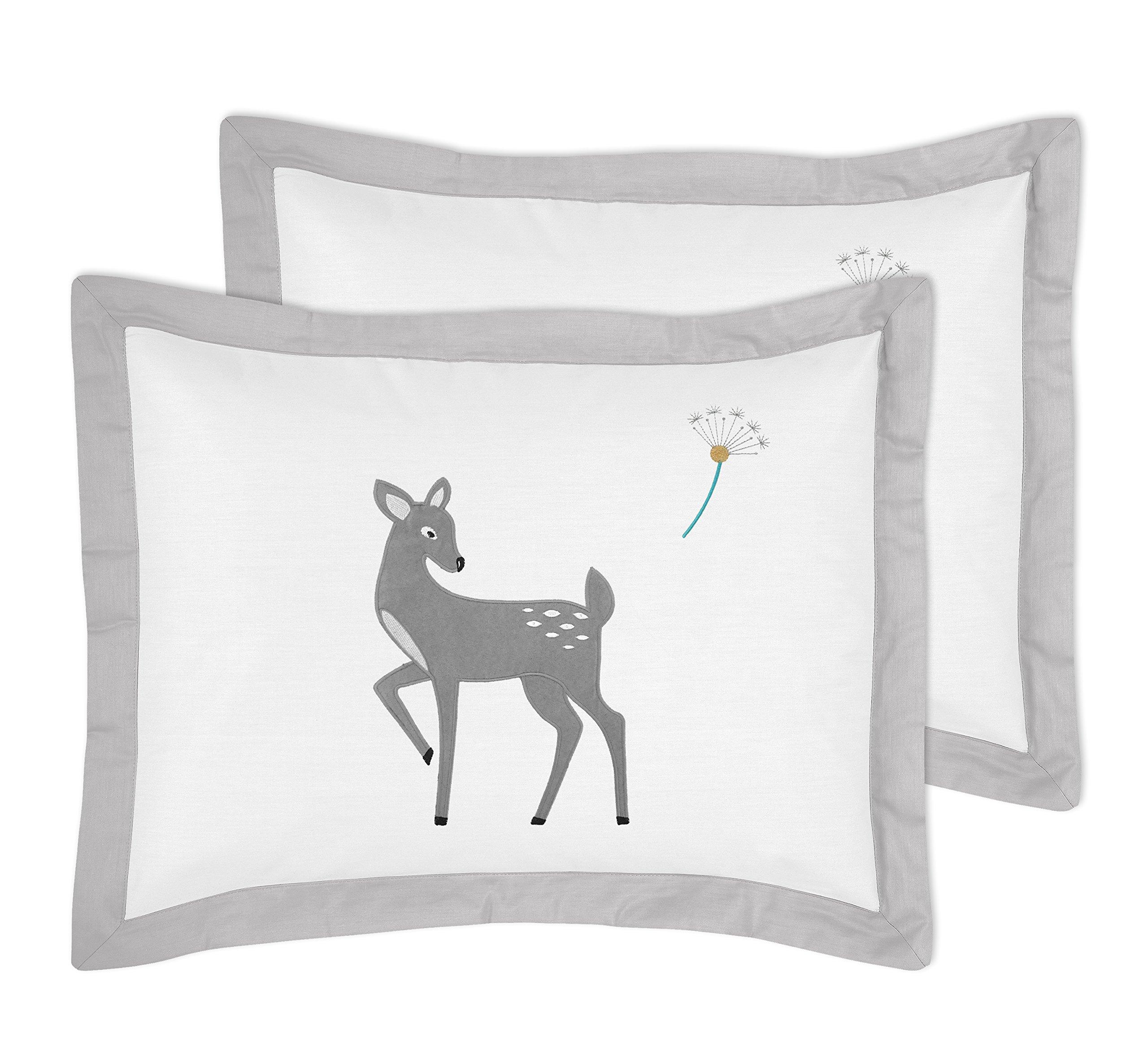 Sweet Jojo Designs 3-Piece Grey Gold and White Forest Deer and Dandelion Girl or Boy Full/Queen Bedding Children's Bedding Set by Sweet Jojo Designs (Image #2)