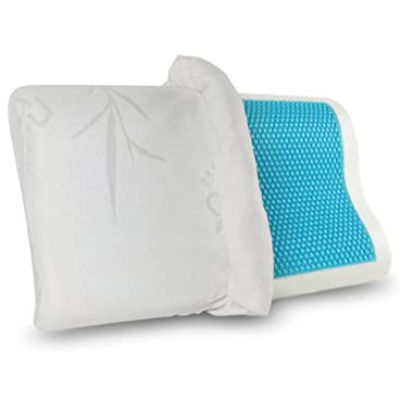 Gel Memory Foam Pillow - Comfortable Cooling Pillow Neck Pain - Cervical Support Pillow Back Stomach Side Sleepers - Orthopedic Sleeping Pillow for Women Kids + Free Bamboo Hypoallergenic Cover 20X12