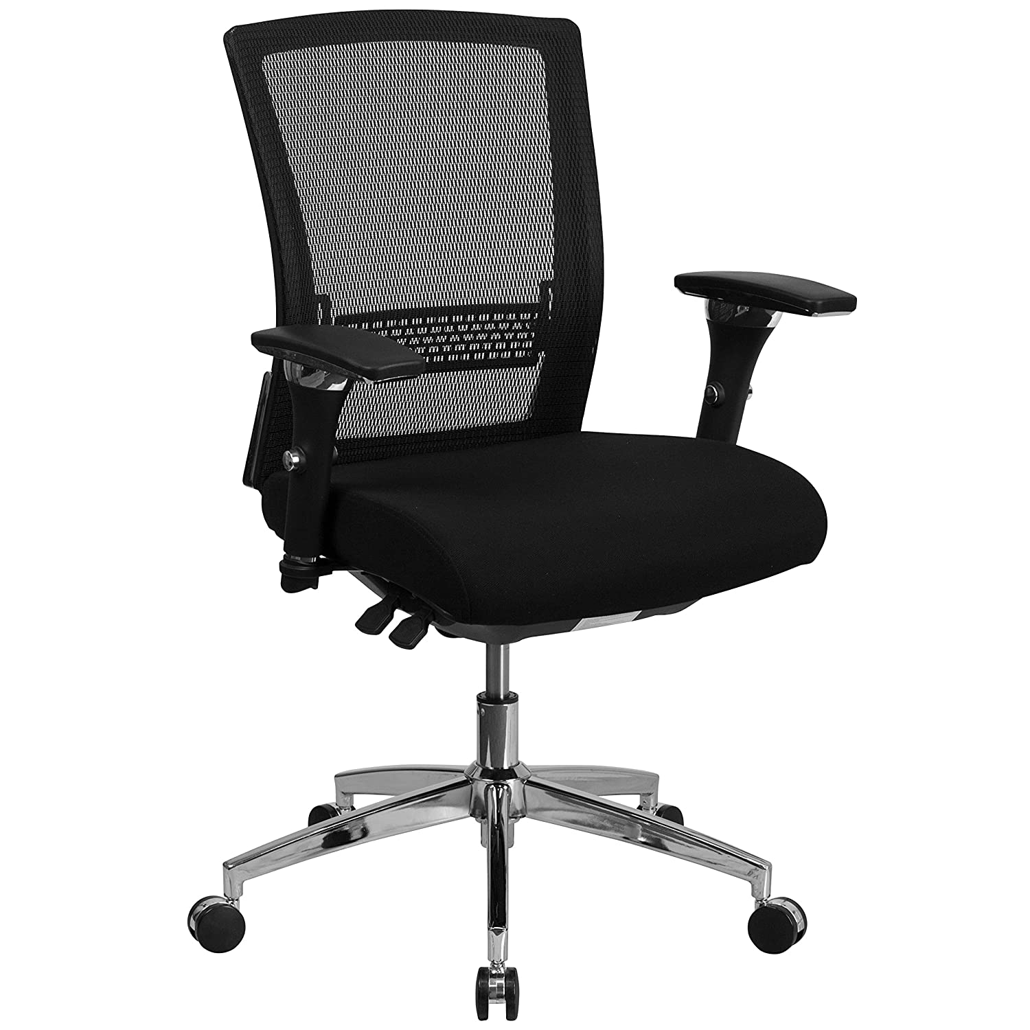 Flash Furniture HERCULES Series 24/7 Intensive Use 300 lb. Rated Black Mesh Multifunction Executive Swivel Chair with Seat Slider