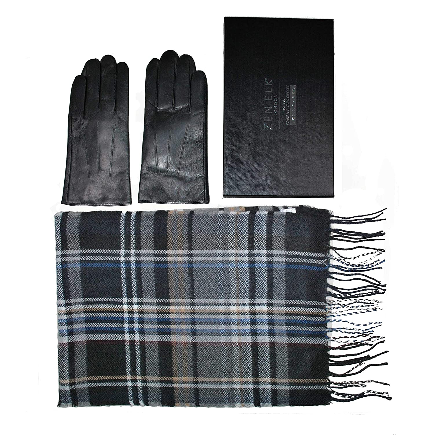 Men's Classic Sheep Leather Gloves and Check Scarf Box Set #85 (Medium)