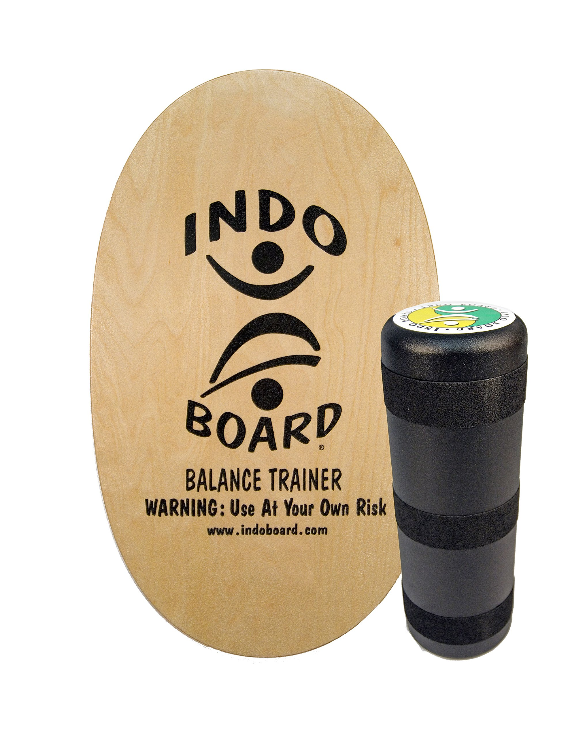 "INDO BOARD Original Balance Board with 6.5"" Roller and 30"" X 18"" Non-Slip Deck – Natural Wood Design by INDO BOARD (Image #1)"