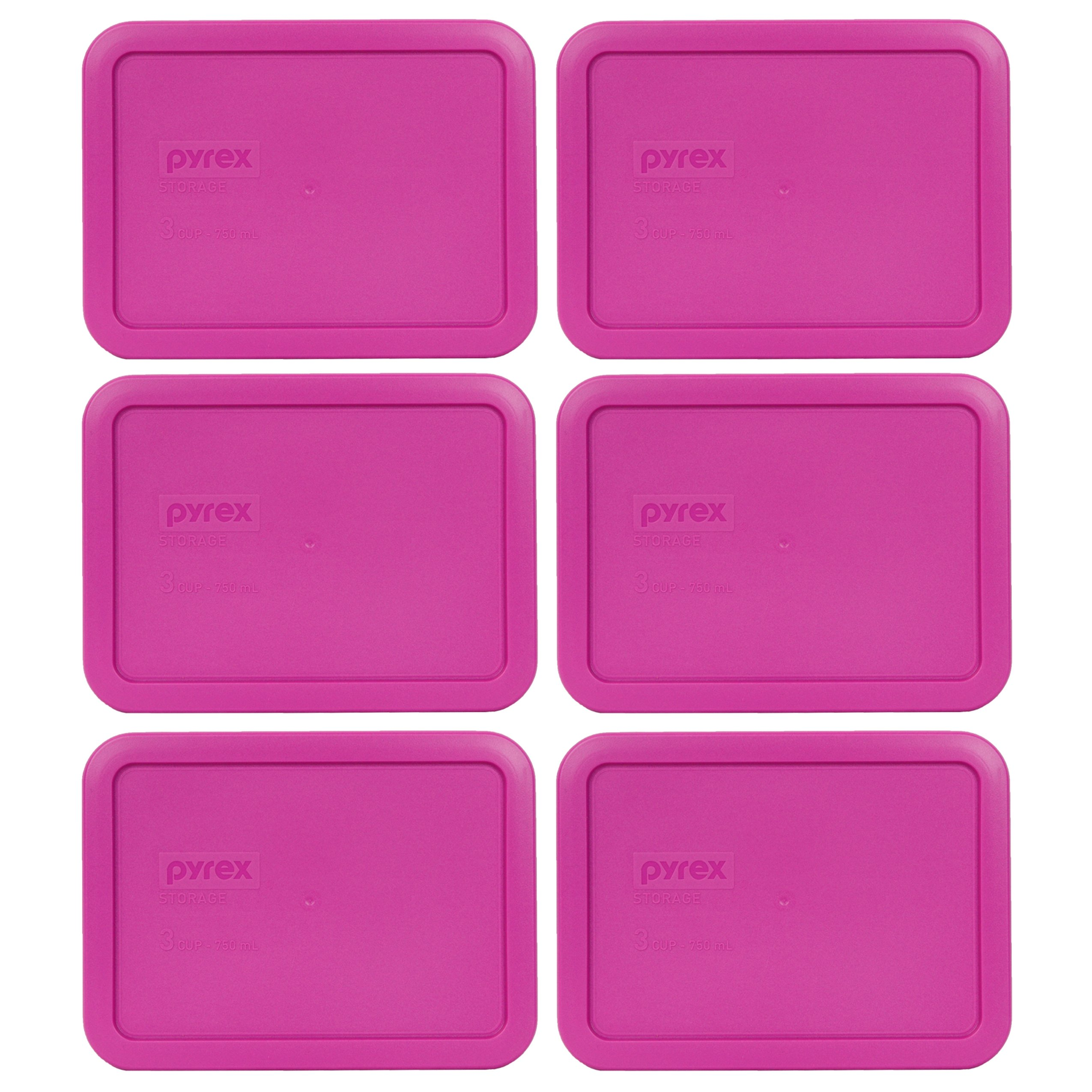 Pyrex 7210-PC 3 Cup Berry Pink Rectangle Plastic Food Storage Lid - 6 Pack