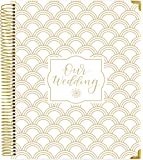 bloom daily planners Undated Wedding Planner - Hard Cover Wedding Day Planner & Organizer - 9 x 11 - Gold Foil Scallops
