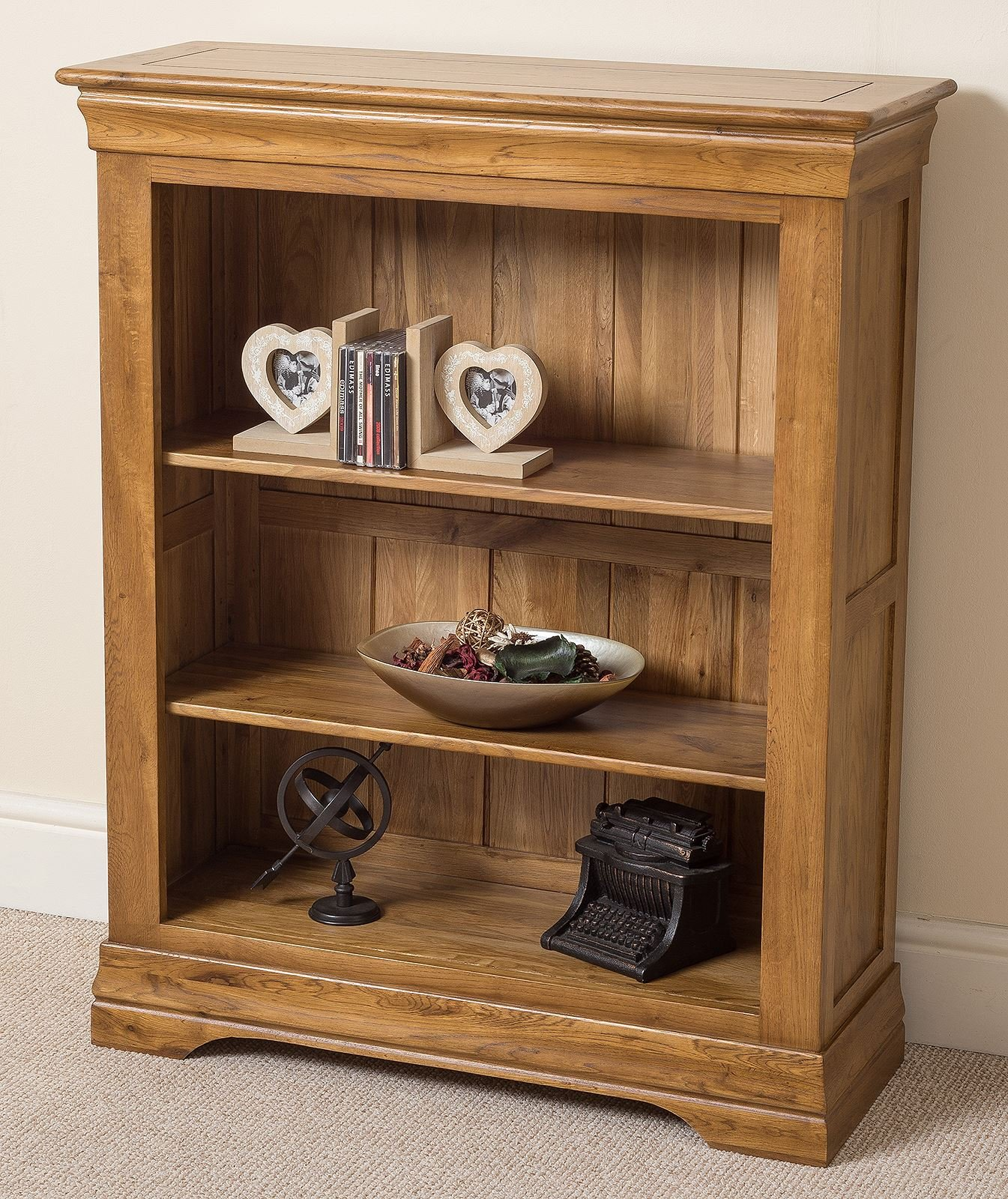 French Rustic Small Solid Oak Bookcase With Shelves Office Furniture 89 W X 33 D