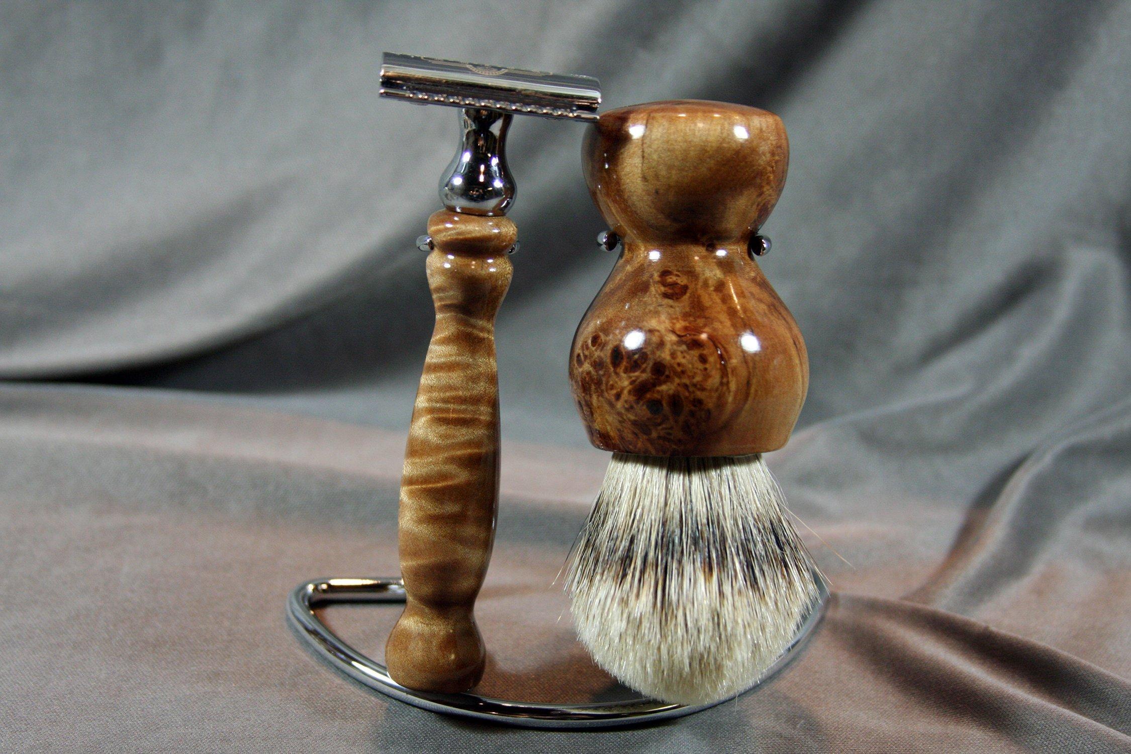 Maple Burl Shaving Set w/ Best Grade Badger Hair Brush by Wood Razor