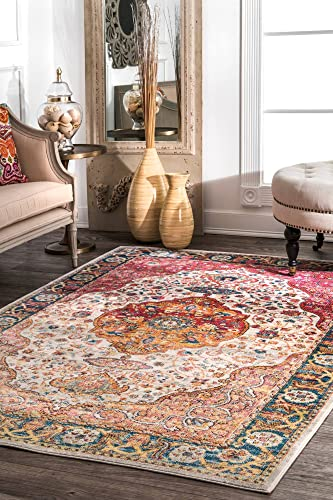 nuLOOM Shirlee Vintage Medallion Area Rug, 4 x 6 , Orange