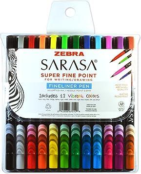 Needle Point 0.8mm Assorted 10-Ct Zebra Pen Sarasa Fine Felt Tip For Writing