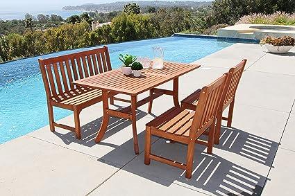 Beau Vifah Malibu 4 Piece Outdoor Hardwood Dining Set With Rectangle Table,  4 Foot