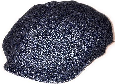 Harris Tweed Mens Modern Peaked 8 Piece Newsboy Baker Boy Pre-Shaped Cap