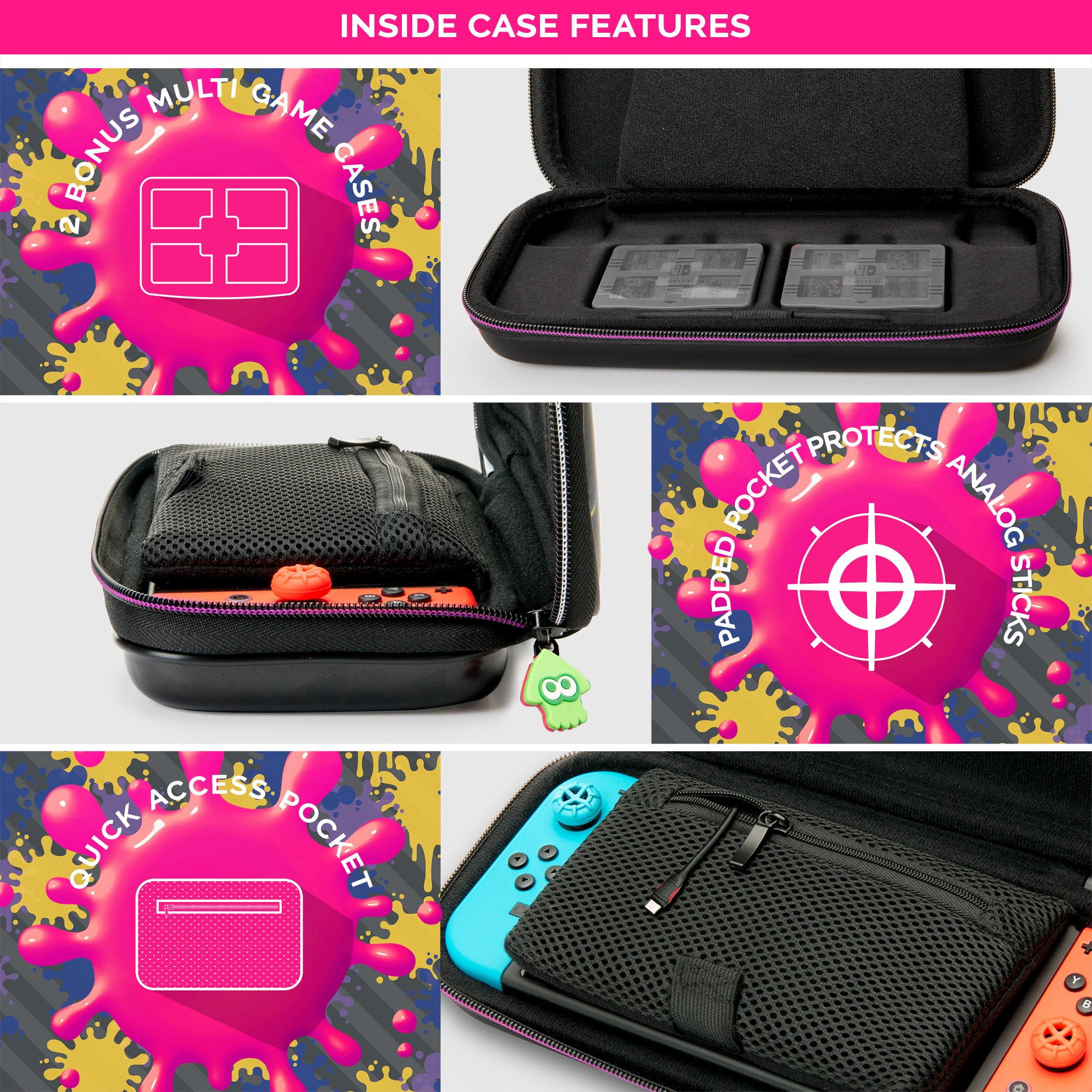 NINTENDO SWITCH DELUXE SPLATOON 2 TRAVEL CASE, PREMIUM HARD CASE MADE WITH PU LEATHER, ORIGINAL SPLATOON ART. SECURE FIT FOR SWITCH, DESIGNED TO PROTECT SWITCH\'S ANALOG STICKS, PLUS 2 MULTI-GAME CASES