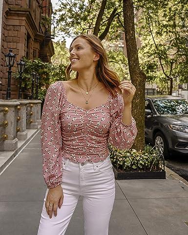 The Drop Top corto rosa pálido floral de manga larga abullonada con fruncido elástico en la espalda para mujer por @charlottebridgeman