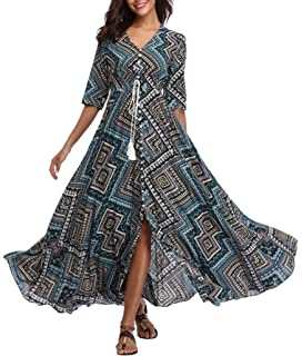2fbdc00db VintageClothing Women's Half Sleeve Boho Maxi Dresses Floral Print Split  Beach Party Dress