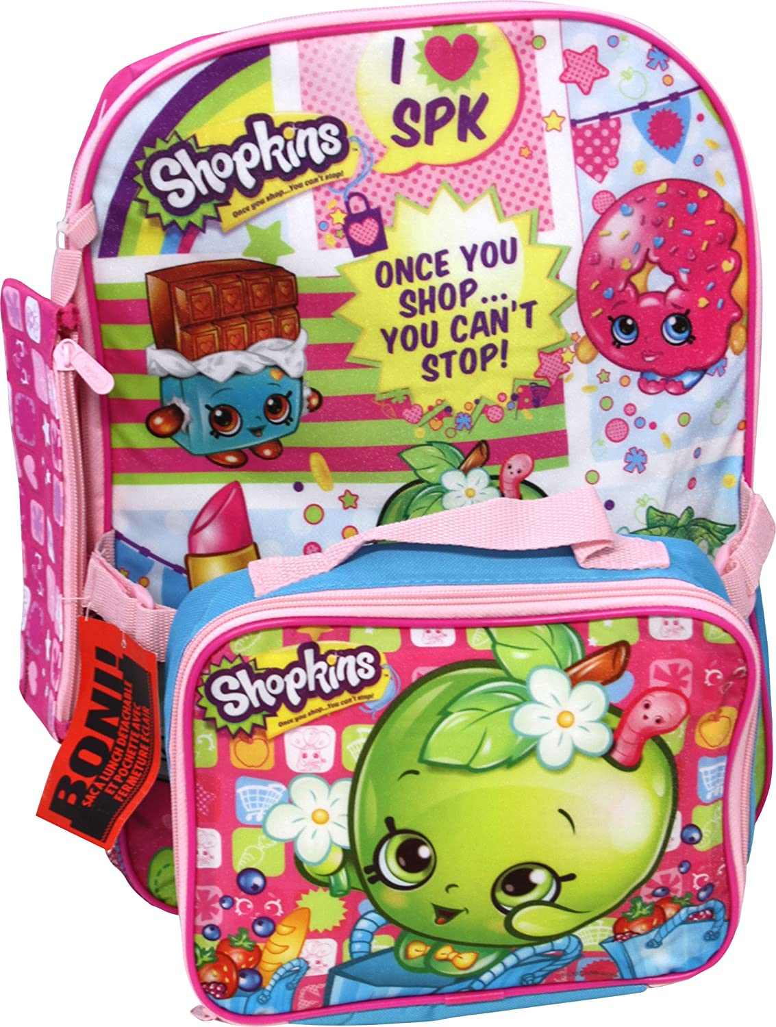 2e505eb307b Shopkins Backpack with Bonus Lunch Bag and Pencil Case, Figures - Amazon  Canada