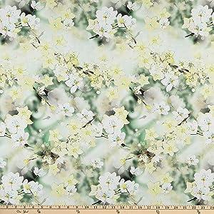 Telio Digital Cotton Lawn Apple Blossom White Jade Fabric by The Yard