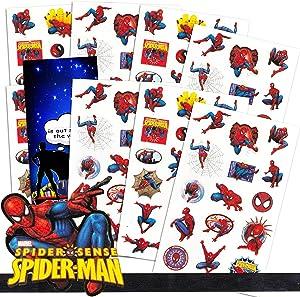 Marvel Spiderman Stickers Party Favor Bundle ~ Over 130 Spider-Man Stickers with Superhero Door Hanger (Superhero Party Supplies)