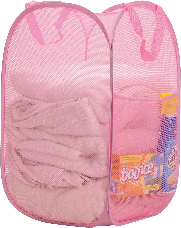 "Premium Heavy-Duty Mesh Pop-Up Clothes Laundry Hamper - Home & College Essentials Pink (14""x14""x24"")"