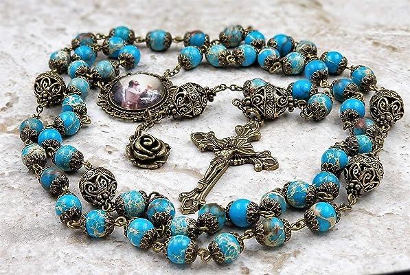 Jesus in the Garden Blue Sea Sediment Jasper Stress,Serenity,Protection Handcrafted Gemstone Rosary