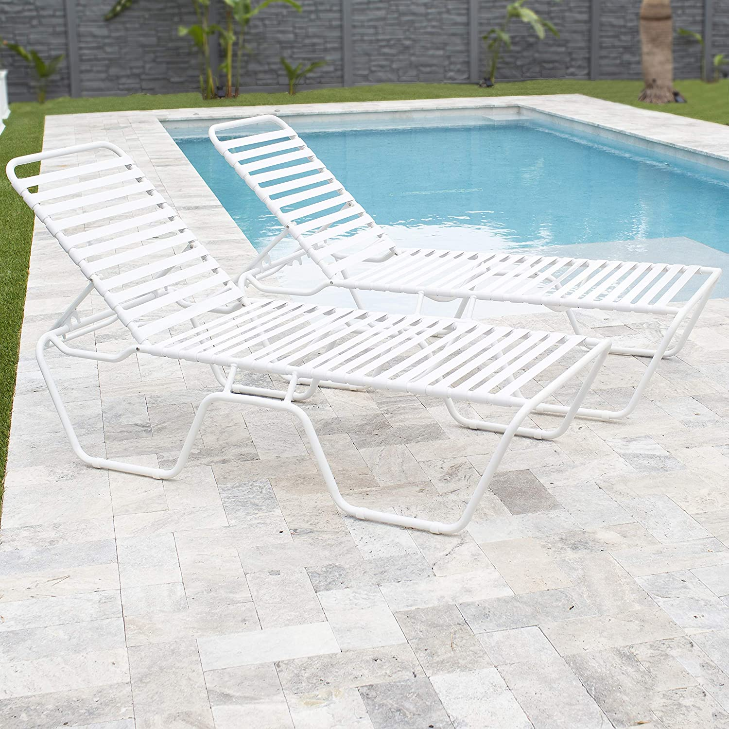 Mix Gulfstream Poolside Patio Outdoor Commercial Grade Single Strap Lounge  Chaise, White