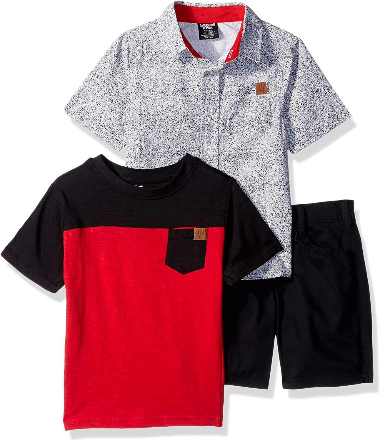American Hawk Boys Toddler Classic Woven T-Shirt and Short Set