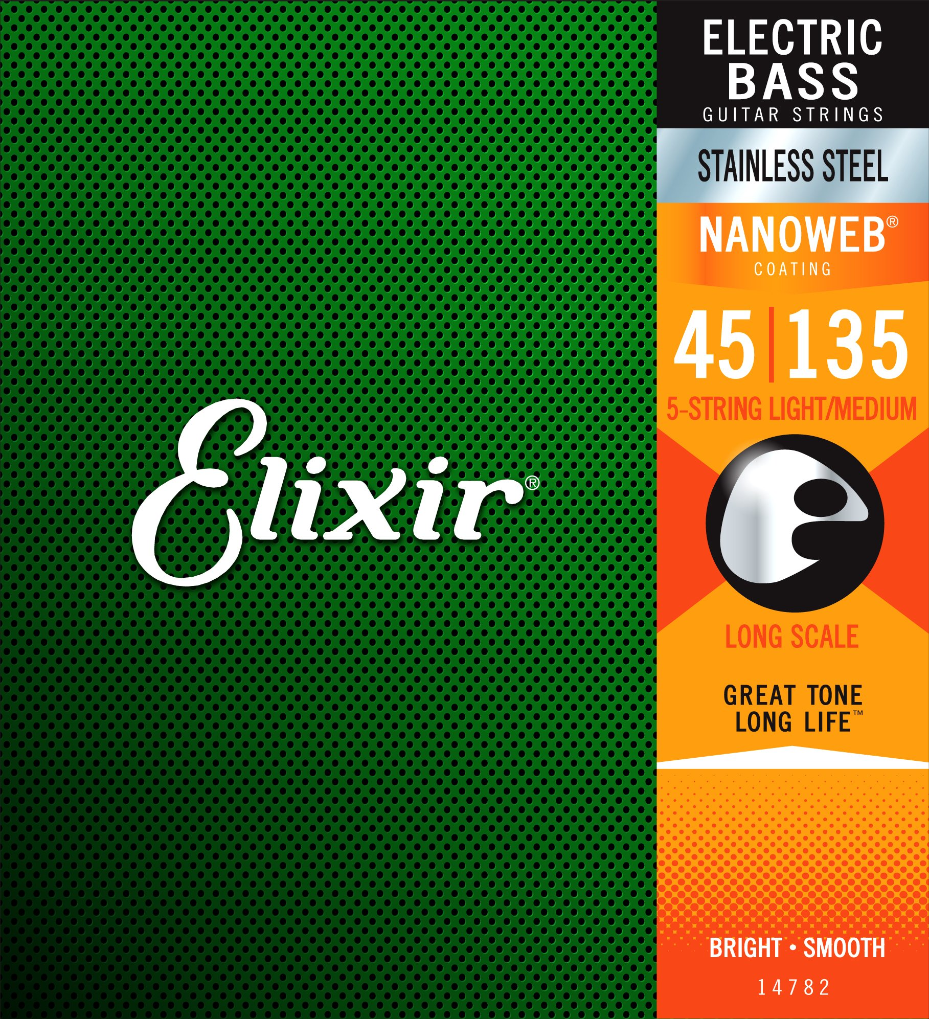 Elixir Strings Stainless Steel 5-String Bass Strings w NANOWEB Coating, Long Scale, Light/Medium (.045-.135)
