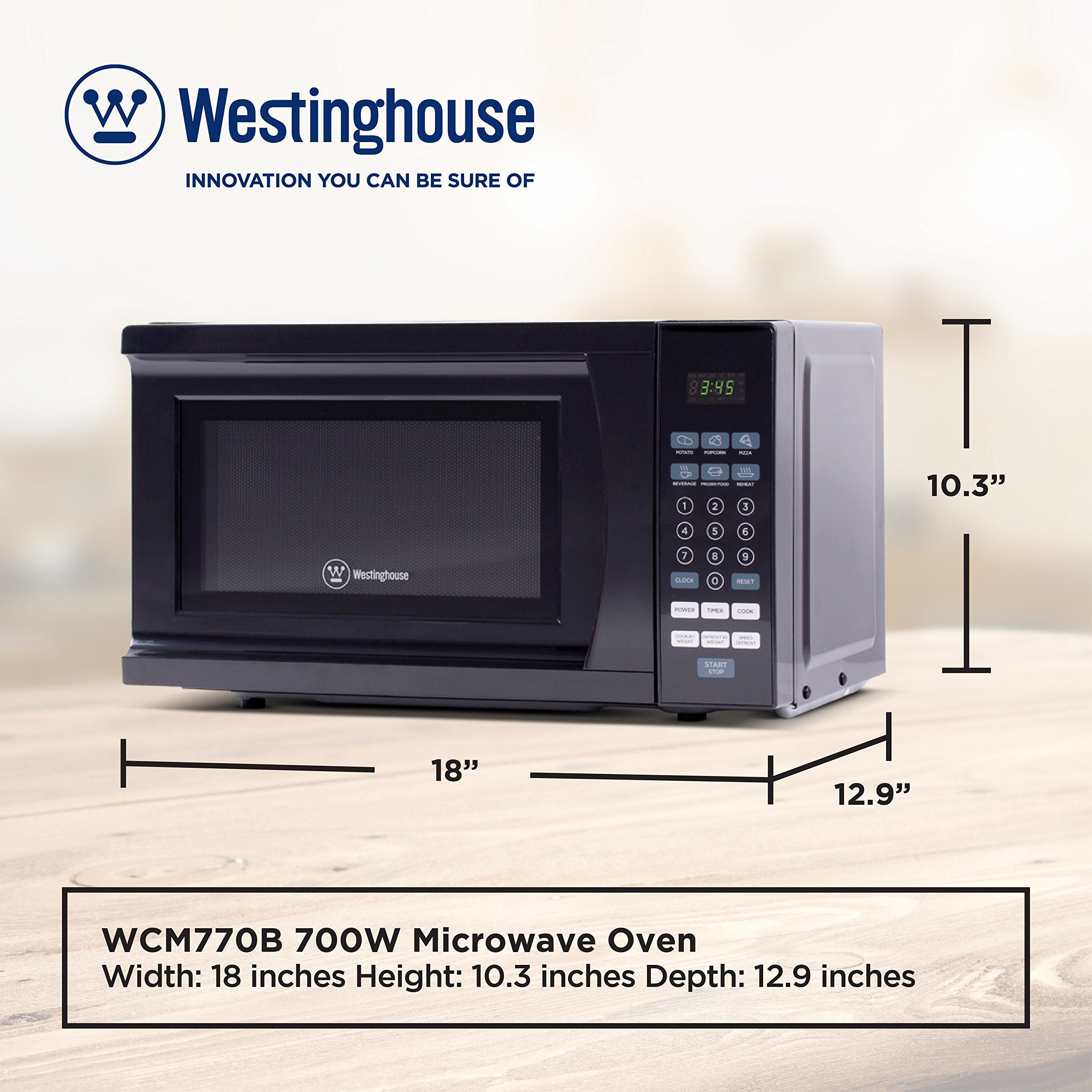 Westinghouse WCM770B 700 Watt Counter Top Microwave Oven, 0.7 Cubic Feet, Black Cabinet by Westinghouse (Image #6)