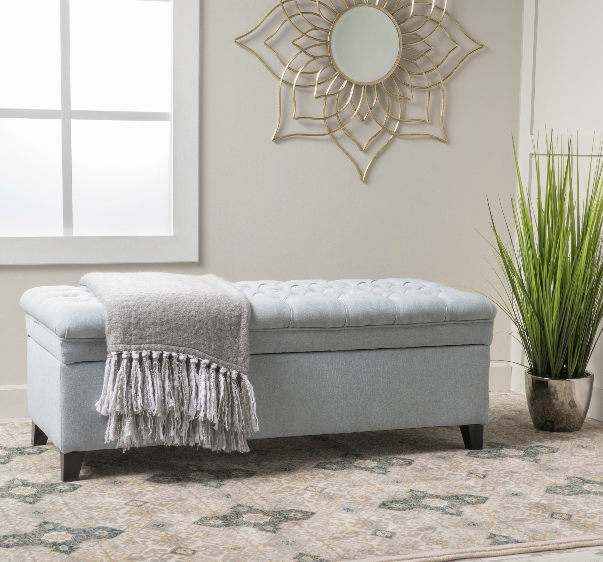 Modern Solid Tufted Fabric Storage Ottoman Seat Bench Coffee Table Entryway (Light Sky)
