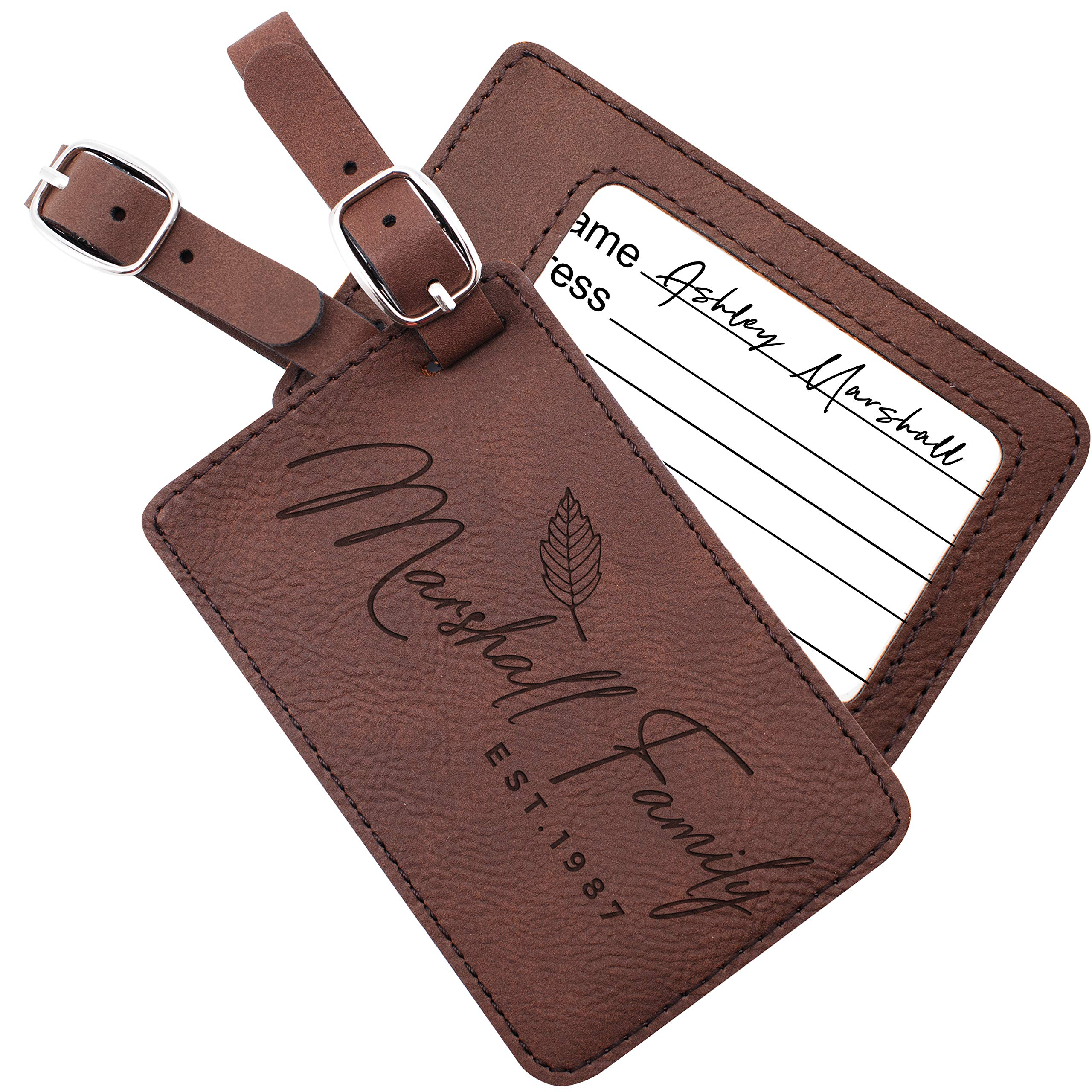 Personalized Leather Luggage Tags Gifts with Engraved Design and Name - Traveler Gifts for Women, Men, Kids - Custom Suitcase Tag for Honeymoon - Christmas Gifts for Travelers #10 by United Craft Supplies