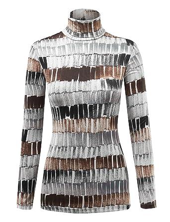 819ee8de79 WSK1325 Womens Print Long Sleeeve Turtleneck Sweater Knit Top S Black Brown