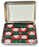 Miniature Tabasco Gift Tin. Ten 1/8 Ounce Mini Bottles of Original Tabasco Pepper Sauce in a Hinged Tin with a Clear See Through Top.