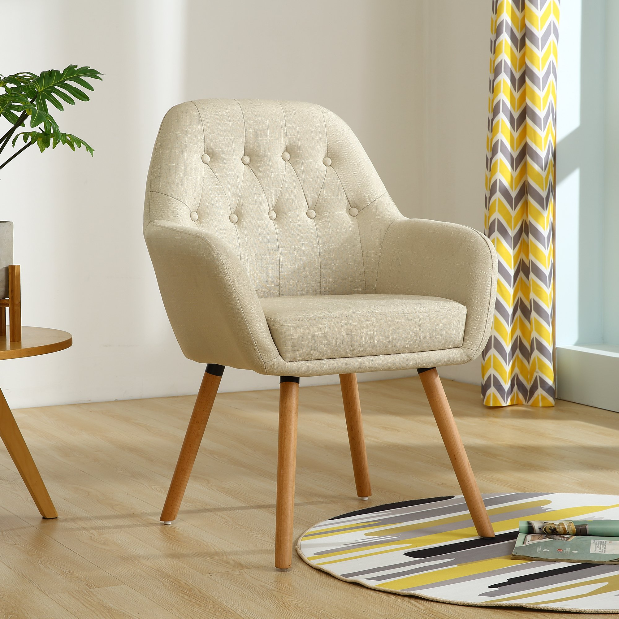 LSSBOUGHT Contemporary Stylish Button-Tufted Upholstered Accent Chair with Solid Wood Legs (Beige)