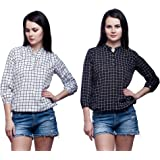 Mallory Winston Casual 3/4 Sleeve Checkered Black and White Balloon Women's Top.