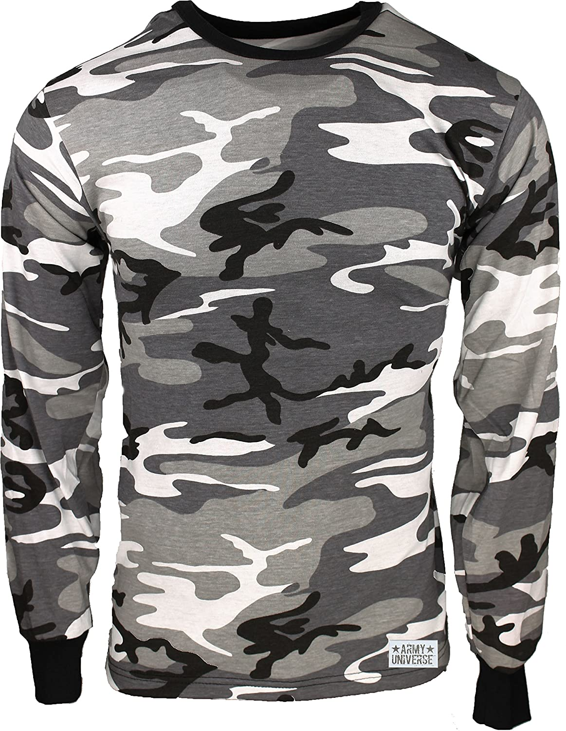 Amazon.com  Military Camouflage Long Sleeve T-Shirt Camo Army Tee With  ArmyUniverse Pin  Clothing 970e87b213c