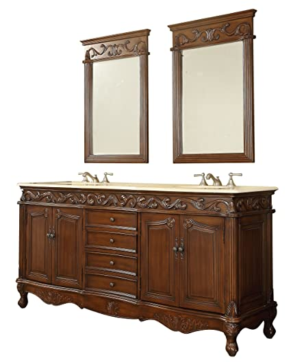 72u201d Benton Collection Beckham Colonial Double Sink Vanity Cabinet With 2  Mirrors CF 3882M