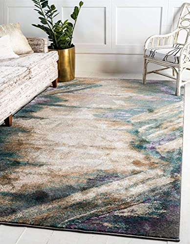 Unique Loom Aurora Collection Abstract Over-Dyed Vintage Beige Area Rug 9' 0 x 12' 0 - a good cheap living room rug
