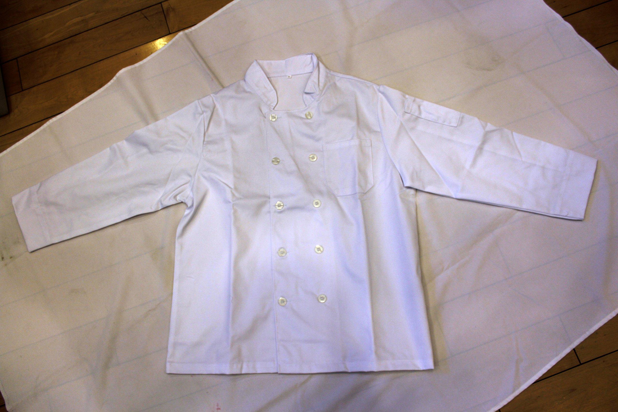 All White Unisex Chef Jacket (Long Sleeves) Size 48, 2X-Large