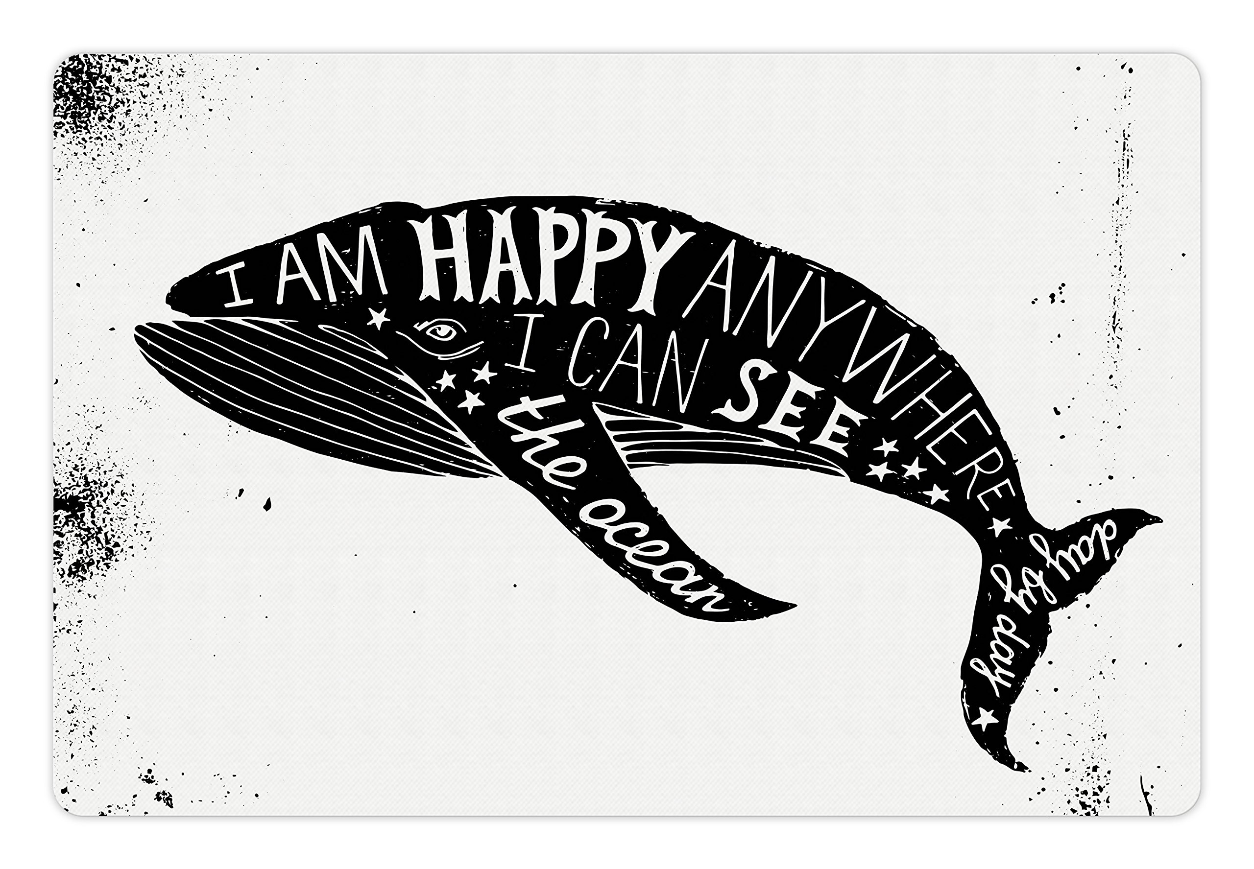 Lunarable Whale Pet Mat for Food and Water, Monochrome Hand Drawn Ocean Animal with a Motivational Quote on Grunge Backdrop, Rectangle Non-Slip Rubber Mat for Dogs and Cats, Black and White