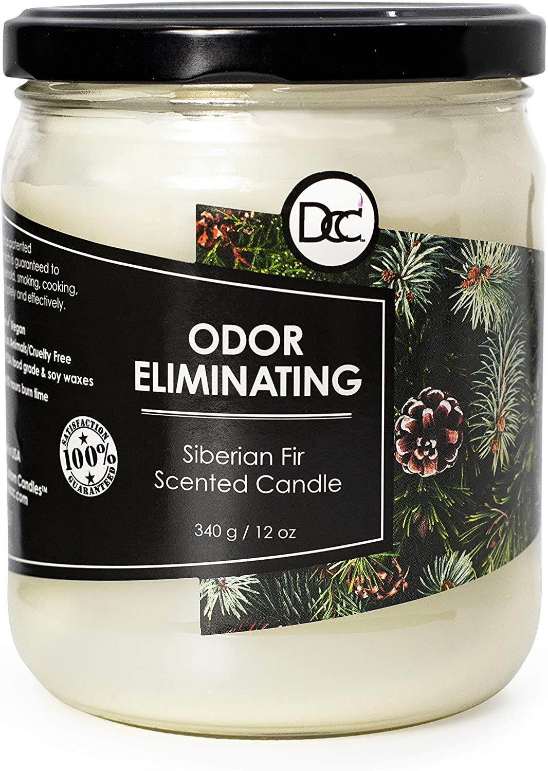Odor Eliminating Highly Fragranced Candle - Neutralizes Pet, Smoke, Food, and Other Smells Quickly - Up to 80 Hour Burn time - 12 Ounce Premium Soy Blend (Siberian Fir)