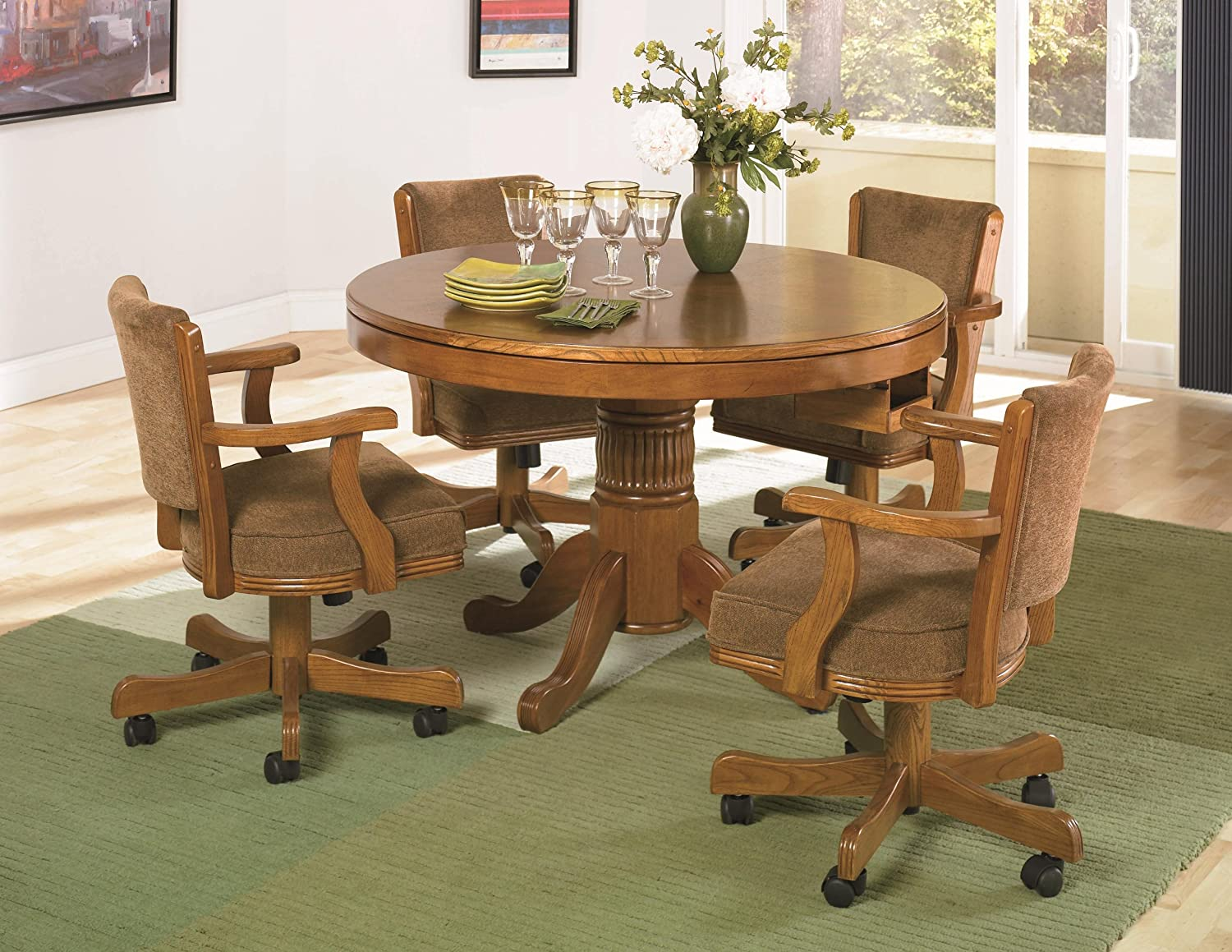 Amazoncom Coaster Mitchell 5 Piece 3 In 1 Game Table Set In Oak
