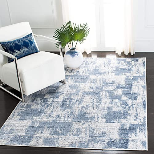 Safavieh Amelia Collection ALA786A Modern Contemporary Abstract Distressed Area Rug, 9 x 12 , Ivory Blue